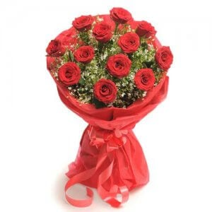 Love Around 12 Red Roses Online from Way2flowers - 10th Anniversrary Gifts