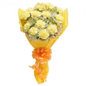 Bright N Sunny 15 Yellow Carnations - Flower Bouquet Online