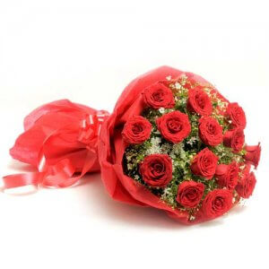 Scarlet Love 15 Red Roses - Flower Bouquet Online