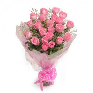 25 Pink Roses - Send Flowers to Gajuwaka | Online Cake Delivery in Gajuwaka