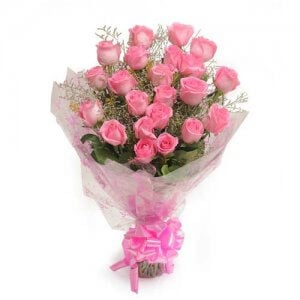 Pink Perfection 25 Pink Roses Online from Way2flowers - 10th Anniversrary Gifts