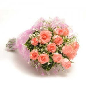 Elegance 12 Baby Pink Roses Online from Way2flowers - 5th Anniversary Gifts