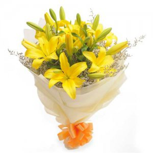 Sunshine 6 Yellow Lilies - Send Valentine Gifts for Him Online
