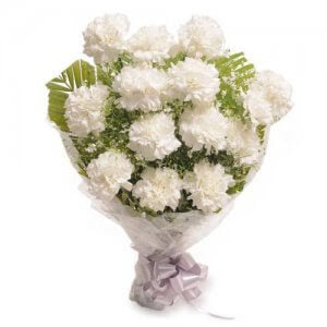 Stary 12 White Carnations - Flower Bouquet Online