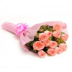 12 Baby Pink N Roses - Send Flowers to Gajuwaka | Online Cake Delivery in Gajuwaka