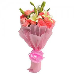 Carnations N Lilies - Flower Bouquet Online