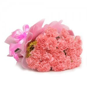 15 Pink Carnations - Flower Bouquet Online