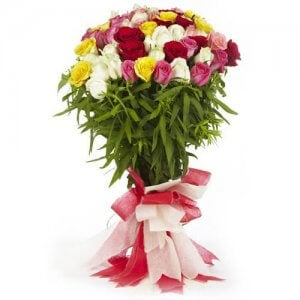 With Love 60 Mix Roses Online from Way2flowers - Anniversary Flowers Online