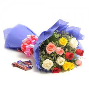 Sweet Mix Roses  -  Online Flower Delivery in India - Chocolate Day Gifts