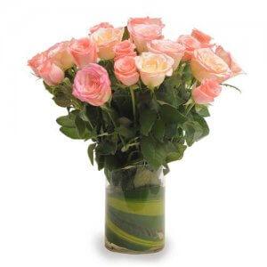 Pink Roses N Vase - Send Birthday Gift Hampers Online