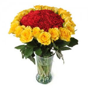 Red And Yellow Vase - Send Carnations Flowers Online