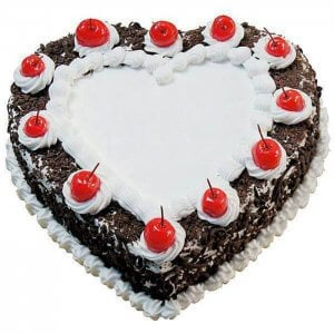 Heart Shape Black Forest - Online Cake Delivery - Send Heart Shaped Cakes Online