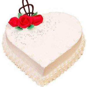 Heart Shape Creamy Vanilla Cake - Send Vanilla Cakes Online
