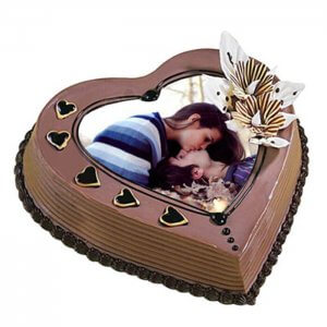 Heart Shape Photo Coffee Cake - Online Cake Delivery - Send Personalised Photo Cakes Online