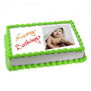 1kg Photo Cake Pineapple Eggless - Online Cake Delivery - Send Personalised Photo Cakes Online