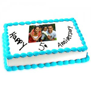5th Anniversary Photo Cake Eggless 1kg - Birthday Cake Online Delivery