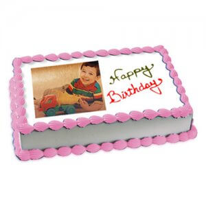 2kg Photo Cake Butterscotch Eggless - Birthday Cake Online Delivery