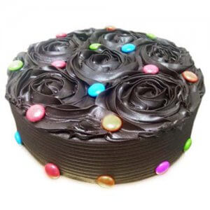 Chocolate Flower Cake 1kg - Birthday Cake Online Delivery - Online Cake Delivery in India