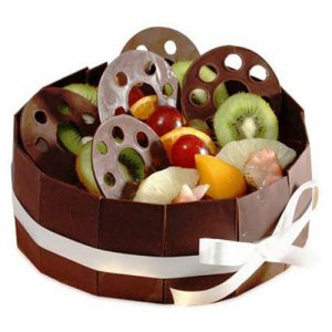 The Chocolate & Fruit Basket 1kg - Birthday Cake Online Delivery - Chocolate Day Gifts