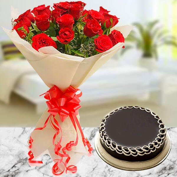 Order Online Flowers - Red Roses with Cake by Way2flowers