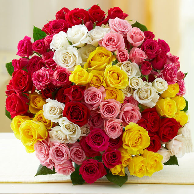 100 Mix Roses By Way2flowers