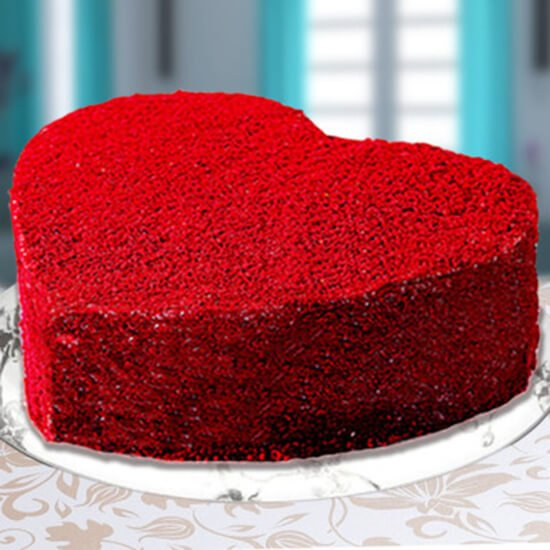 Heart Shape Red Velvet Cake Way to Flowers