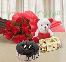 Valentine Flowers with Cake combos